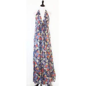 Lil Anthropologie Blue Floral Maxi Dress 4